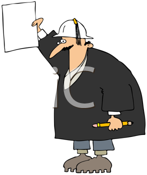 Royalty Free Clipart Image of a Man in a Hardhat Holding a Piece of Paper