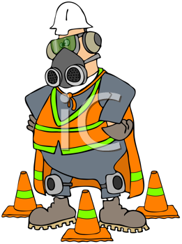 Royalty Free Clipart Image of a Man Wearing a Gas Mask Surrounded by Pylons