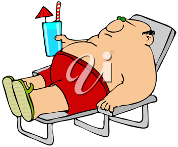 Royalty Free Clipart Image of a Man in an Easy Chair With a Tropical Drink
