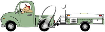 Royalty Free Clipart Image of a Man Driving a Tent Trailer