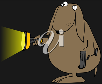 Royalty Free Clipart Image of a Dog With a Gun and a Flashlight