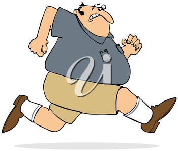 Royalty Free Clipart Image of a Large Man Running