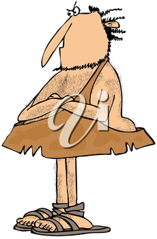 Royalty Free Clipart Image of a Caveman With His Arms Crossed