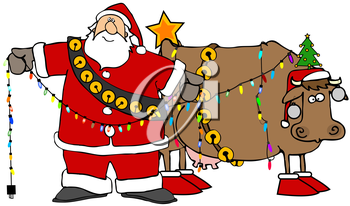 Royalty Free Clipart Image of Santa Decorating a Cow