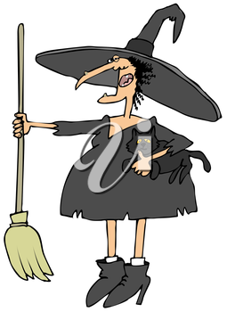 Royalty Free Clipart Image of a Witch With a Broom and a Cat