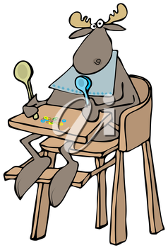 Royalty Free Clipart Image of a Moose in a High Chair