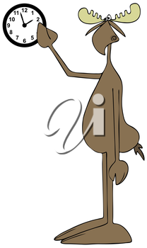 Royalty Free Clipart Image of a Moose Pointing at a Clock
