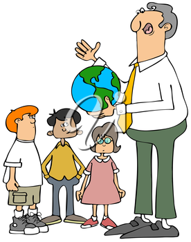 Royalty Free Clipart Image of a Teacher Showing Children a Globe