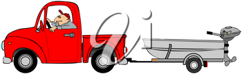 Royalty Free Clipart Image of a Man in a Red Truck Hauling a Boat