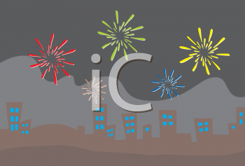 Royalty Free Clipart Image of Fireworks above a City