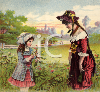 Royalty Free Victorian Illustration of a Mother and Daughter Walking in a Field Picking Flowers