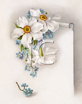 Royalty Free Victorian Illustration of a Paper with Flowers