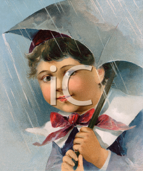 Royalty Free Victorian Illustration of a Young Boy Holding an Umbrella on a Rainy Day