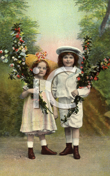 Royalty Free Photo of a Victorian Portrait of Two Children
