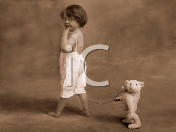 Royalty Free Photo of a Child Walking Their Teddy Bear