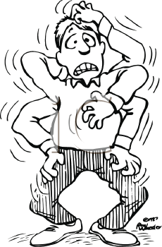 Royalty Free Clipart Image of a Man Scratching