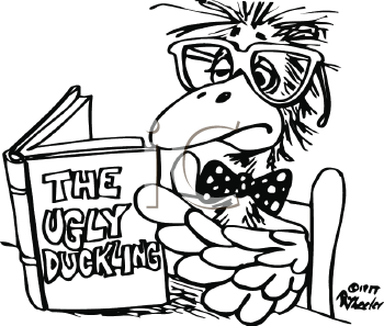 Royalty Free Clipart Image of a Bird Reading The Ugly Duckling