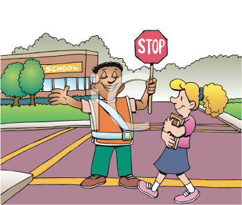 Royalty Free Clipart Image of a Crossing Guard Helping a Girl Cross the Road