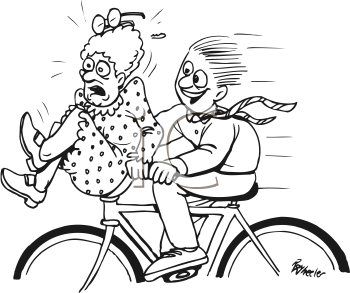 Royalty Free Clipart Image of a Woman Riding on the Handlebars of a Bike