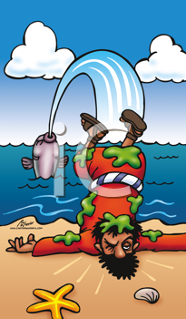 Royalty Free Clipart Image of Fish Spitting a Man Out