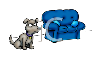 Royalty Free Clipart Image of a Dog Beside a Sofa
