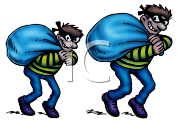 Royalty Free Clipart Image of Two Thieves