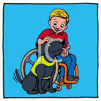 Royalty Free Clipart Image of a Boy in a Wheelchair With a Companion Dog