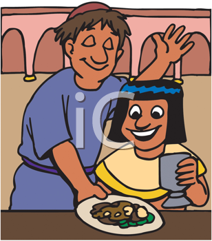 Royalty Free Clipart Image of a Man Serving a Boy Food