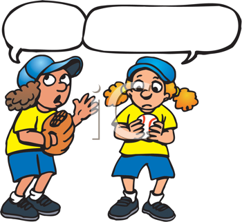 Royalty Free Clipart Image of Two Girl Baseball Players With Conversation Bubbles