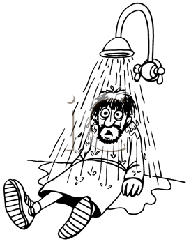 Royalty Free Clipart Image of a Man Under a Shower