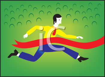 Royalty Free Clipart Image of a Man Running Through a Red Ribbon
