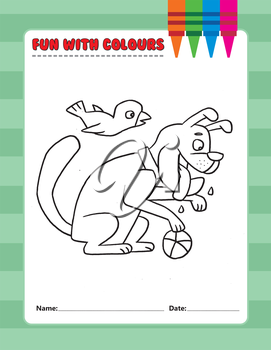 Royalty Free Clipart Image of Colouring Page of a Dog Playing With a Ball and a Bird Flying Overhead