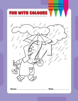 Royalty Free Clipart Image of a Colouring Page of a Person Walking in the Rain