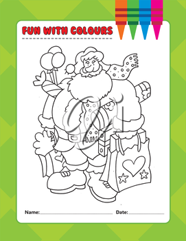 Royalty Free Clipart Image of a Santa Colouring Page