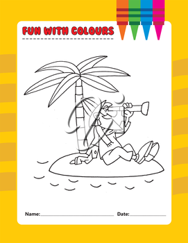 Royalty Free Clipart Image of a Man on a Desert Island