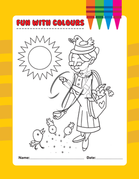 Royalty Free Clipart Image of an Older Woman Feeding Birds