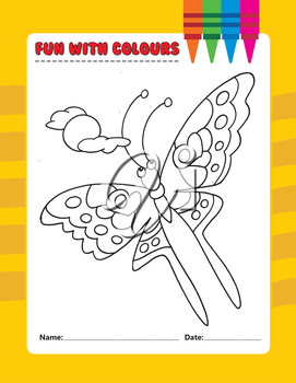 Royalty Free Clipart Image of a Butterfly Colouring Page