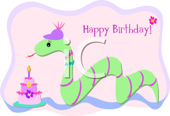 Royalty Free Clipart Image of a Birthday Greeting With a Snake and a Cake