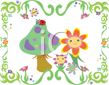 Royalty Free Clipart Image of Flowers and a Mushroom in a Vine Frame