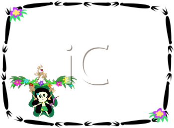 Royalty Free Clipart Image of a Bamboo Frame With a Tiki Kid