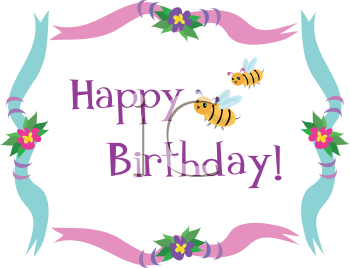 Royalty Free Clipart Image of a Happy Birthday Sign