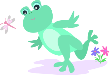 Royalty Free Clipart Image of a Frog Chasing a Butterfly