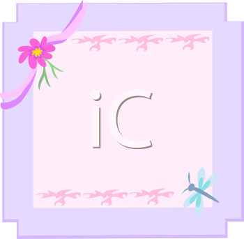 Royalty Free Clipart Image of a Flower and Dragonfly Border
