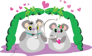 Royalty Free Clipart Image of Two Cartoon Mice in Love