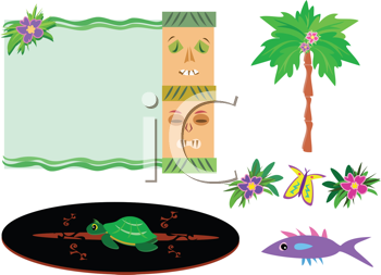 Royalty Free Clipart Image of a Collection of Tropical Items