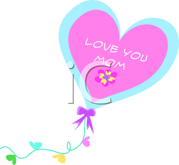 Royalty Free Clipart Image of a Mother's Day Heart Message