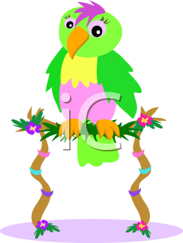 Royalty Free Clipart Image of a Parrot on a Floral Perch