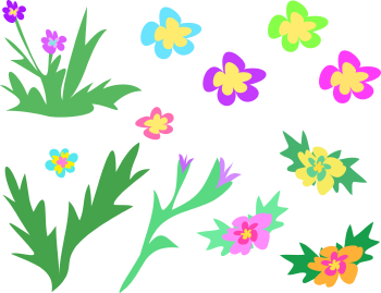 Royalty Free Clipart Image of a Collection of Flowers