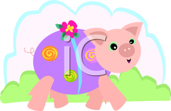 Royalty Free Clipart Image of a Pig Walking With a Flower
