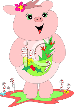 Royalty Free Clipart Image of a Pig With a Christmas Basket
